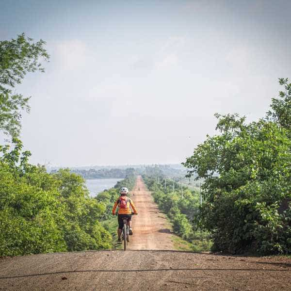 Gravel cycling Cambodia, long road