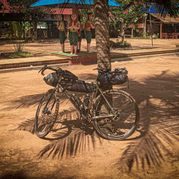 Bike packing gravel bike on Cambodian gravel roads