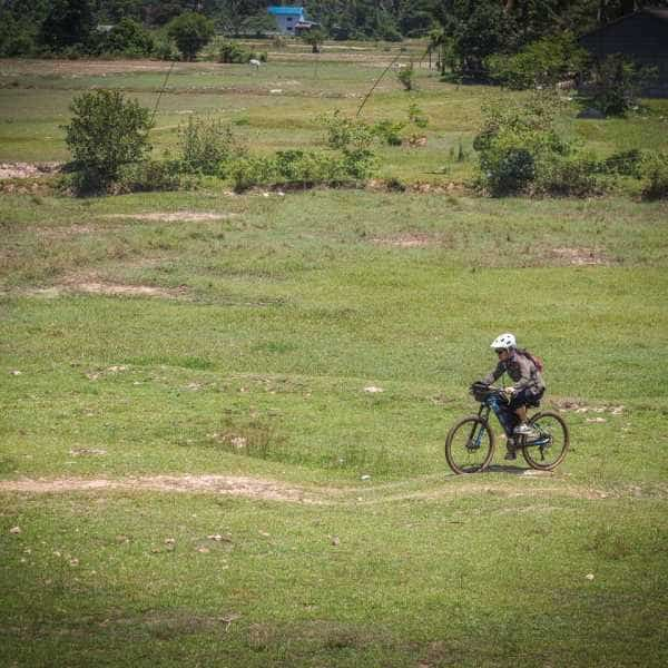 Cross country cycling during Cambodia bicycle tour