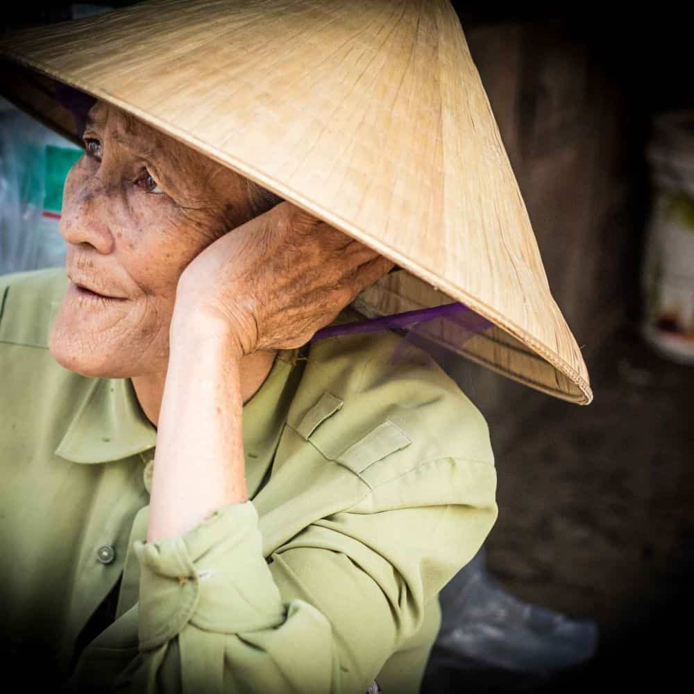 Vietnamese man in conical hat