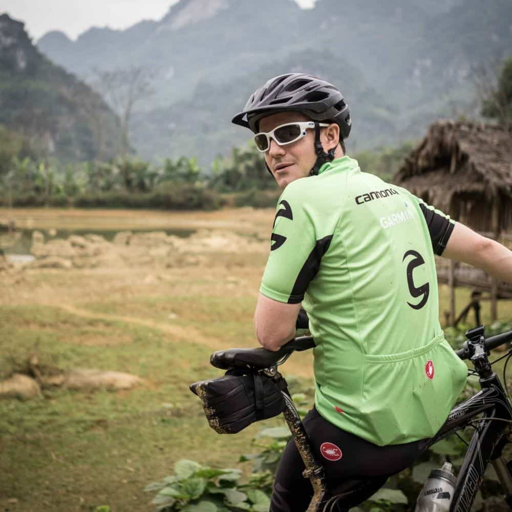 cyclist on the Ho Chi Minh Trails tour in Vietnam