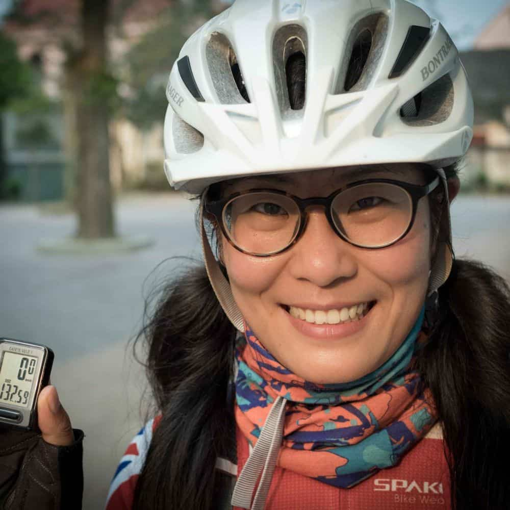 Girl cyclist celebrates 130kms on Ho Chi Minh Trail