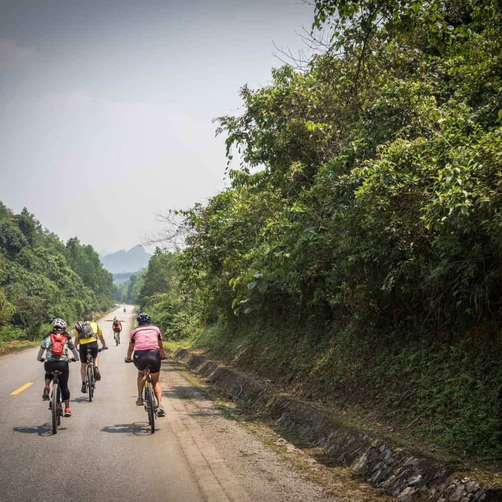 A group of cyclists on The Ho Chi Minh Trail in Vietnam