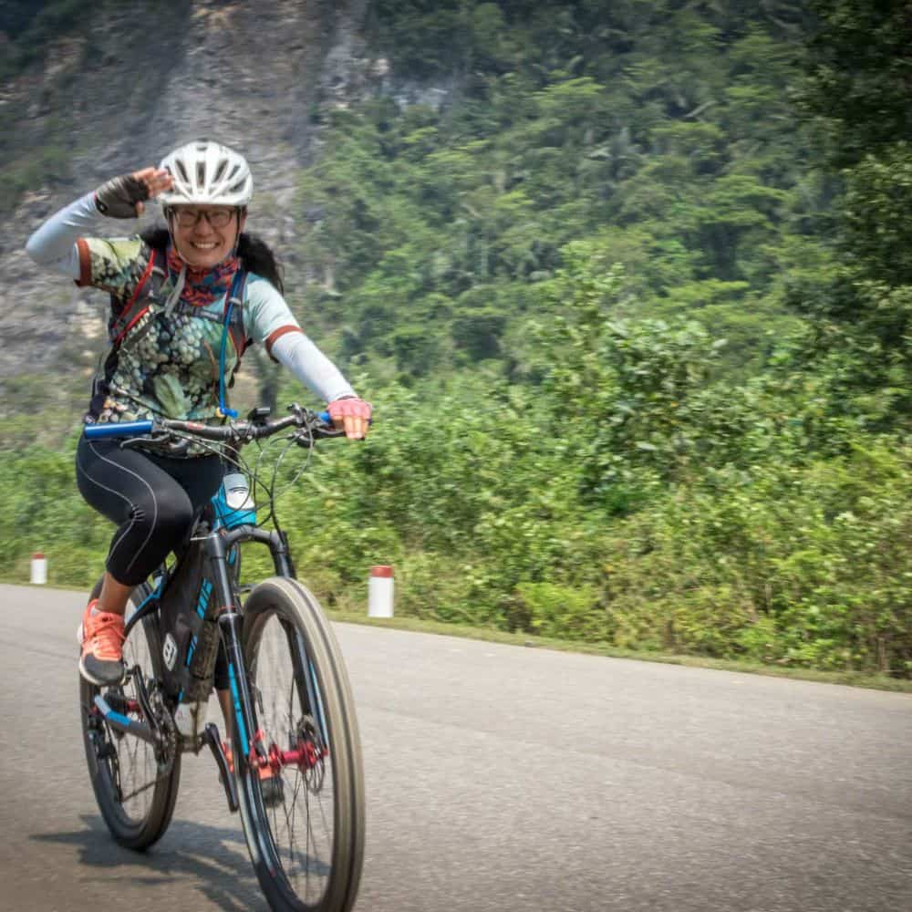 A lady cycling tourist in Vietnam