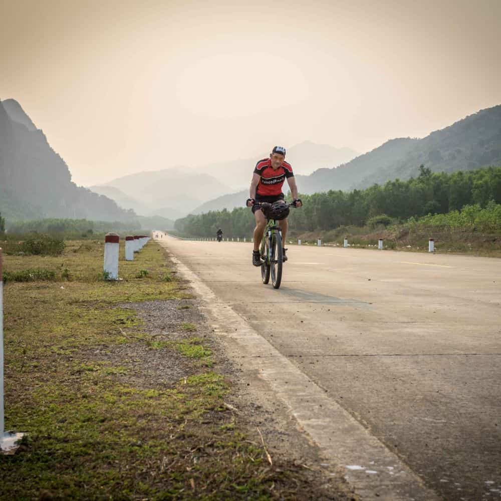 Bicycle tourist in Central Vietnam