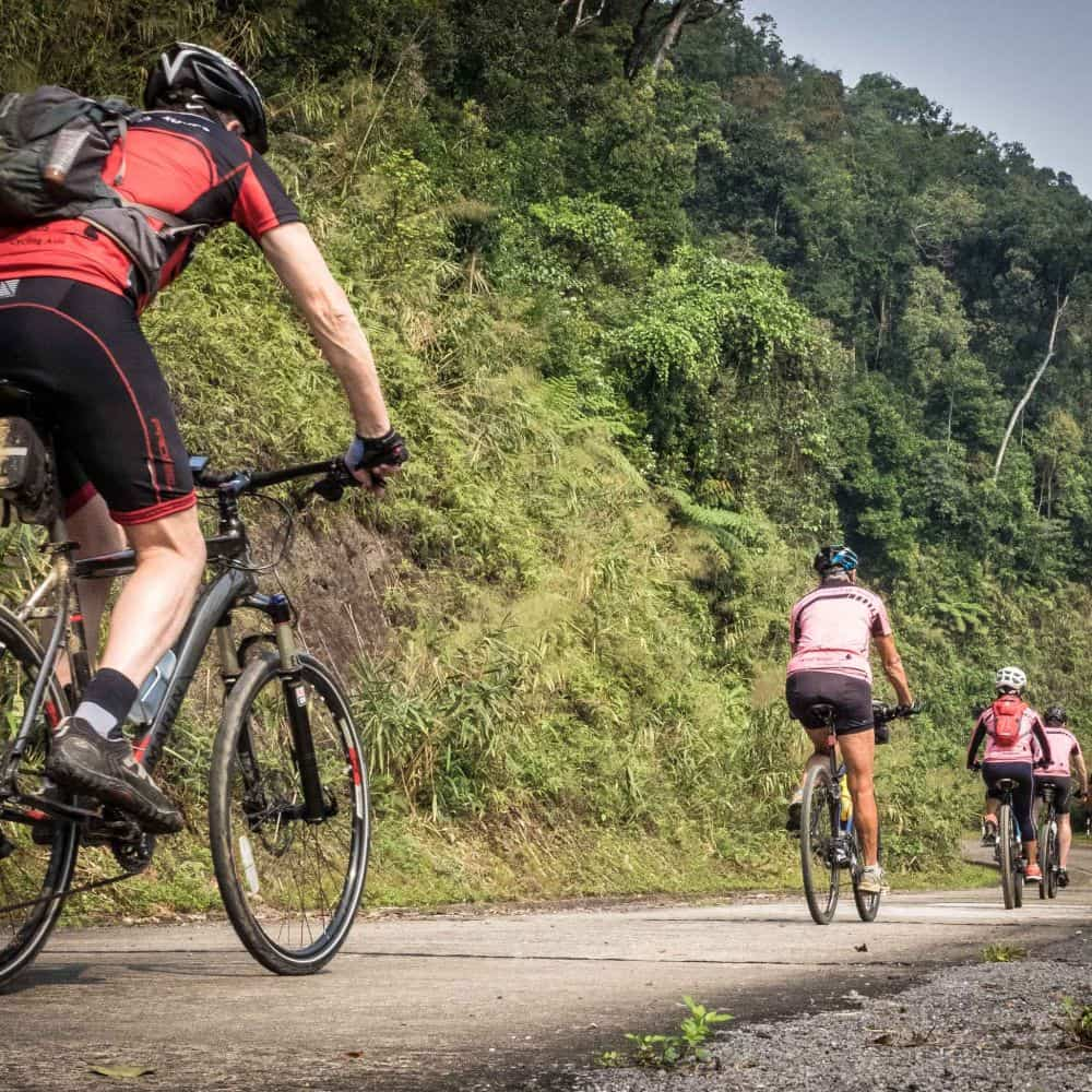 Cyclists touring Vietnam's Ho Chi Minh Trail