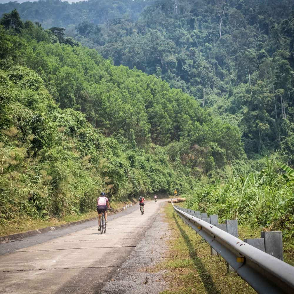 Bicycle tourist in Trung Son mountains Vietnam