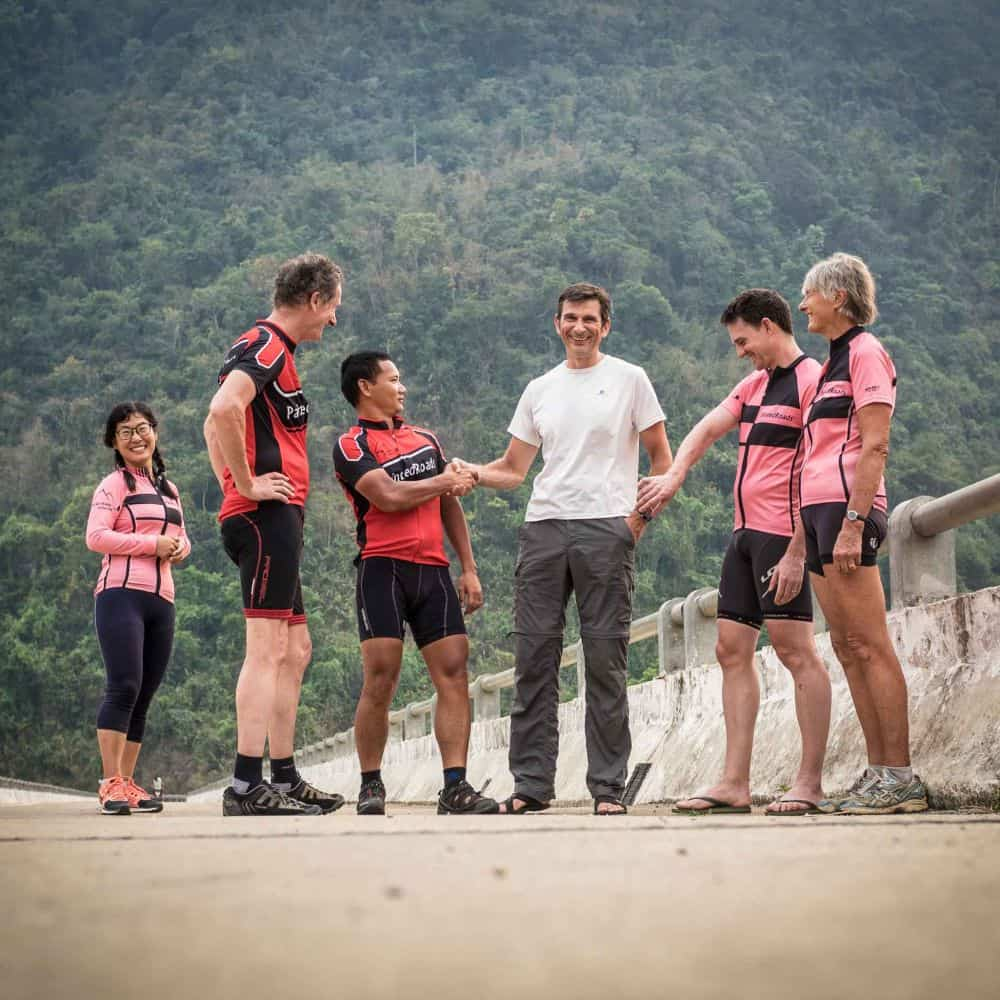 Bicycle tourists on the 17th Parallel in Vietnam