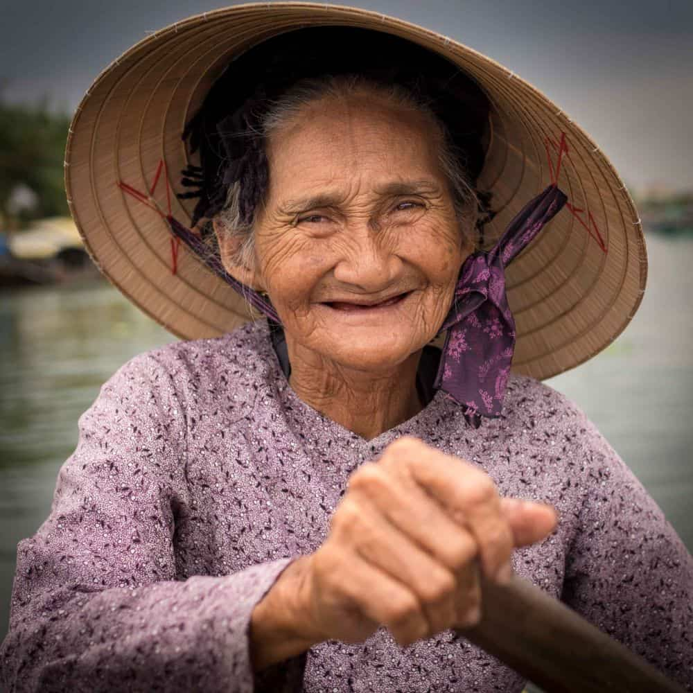 An old boat lady in Hoi An Vietnam