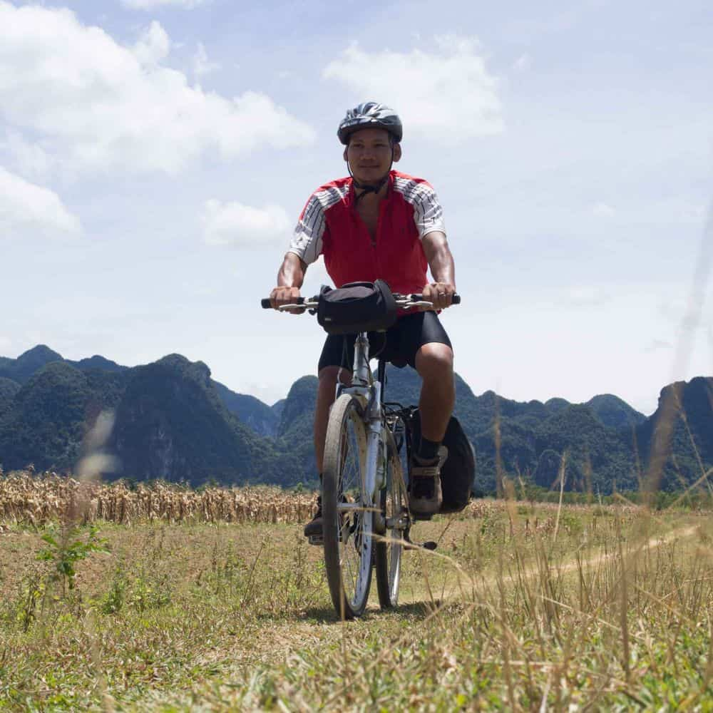 A cyclist on Vietnam's Ho Chi Minh Trail