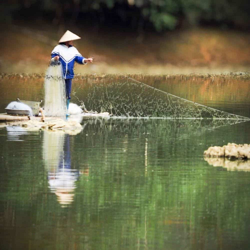 Fishing with a net in central Vietnam