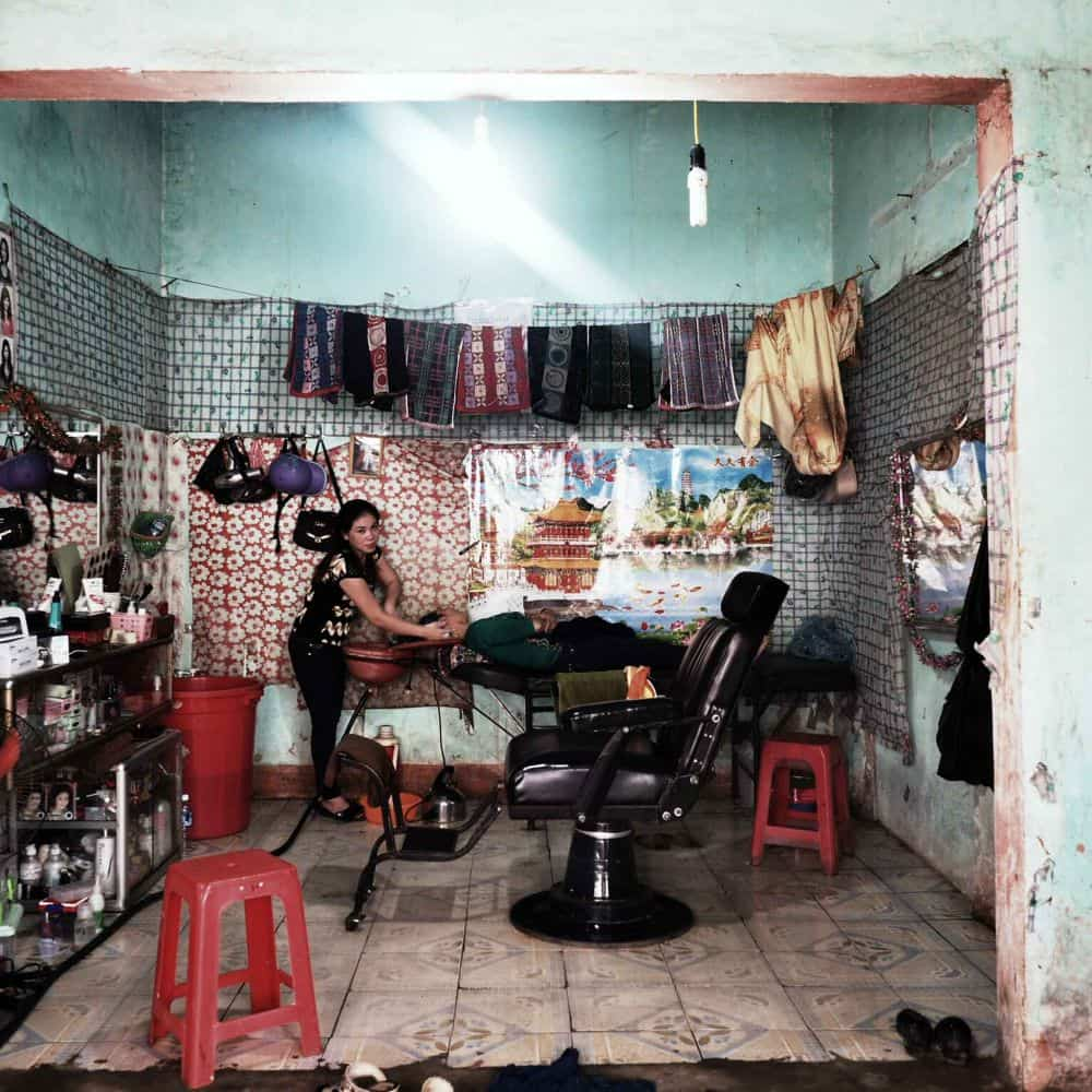 interior of a Vietnamese barbers shop