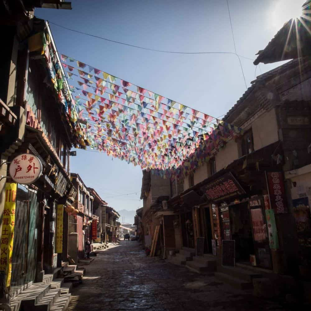prayer flags in the streets of Shangri-la