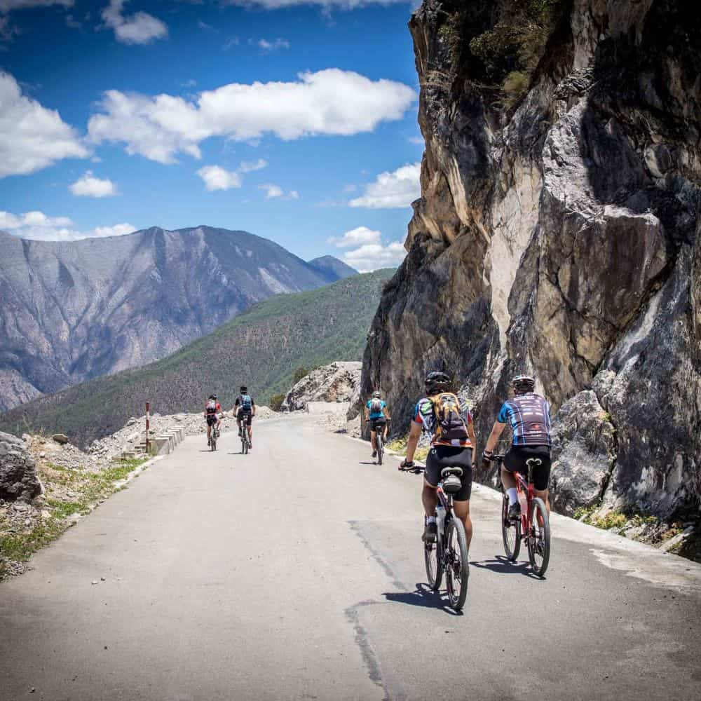 cyclists in the mountains of China's Yunnan Province