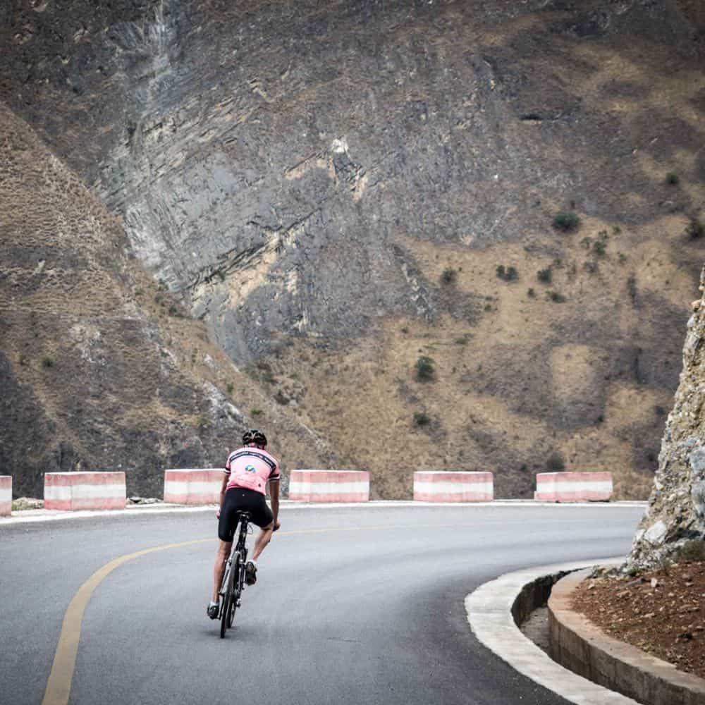 A cyclist on holiday in Yunnan, China