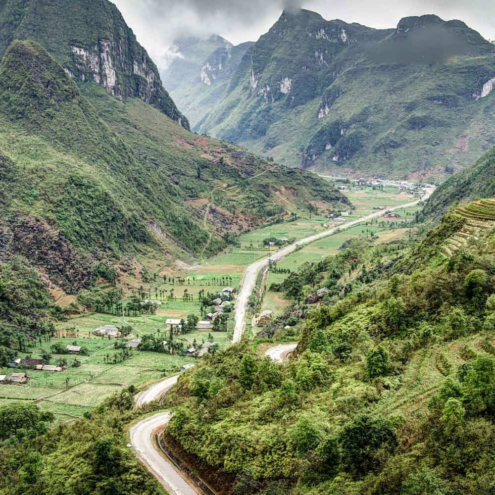 Valley road on northeast Vietnam cycling tour