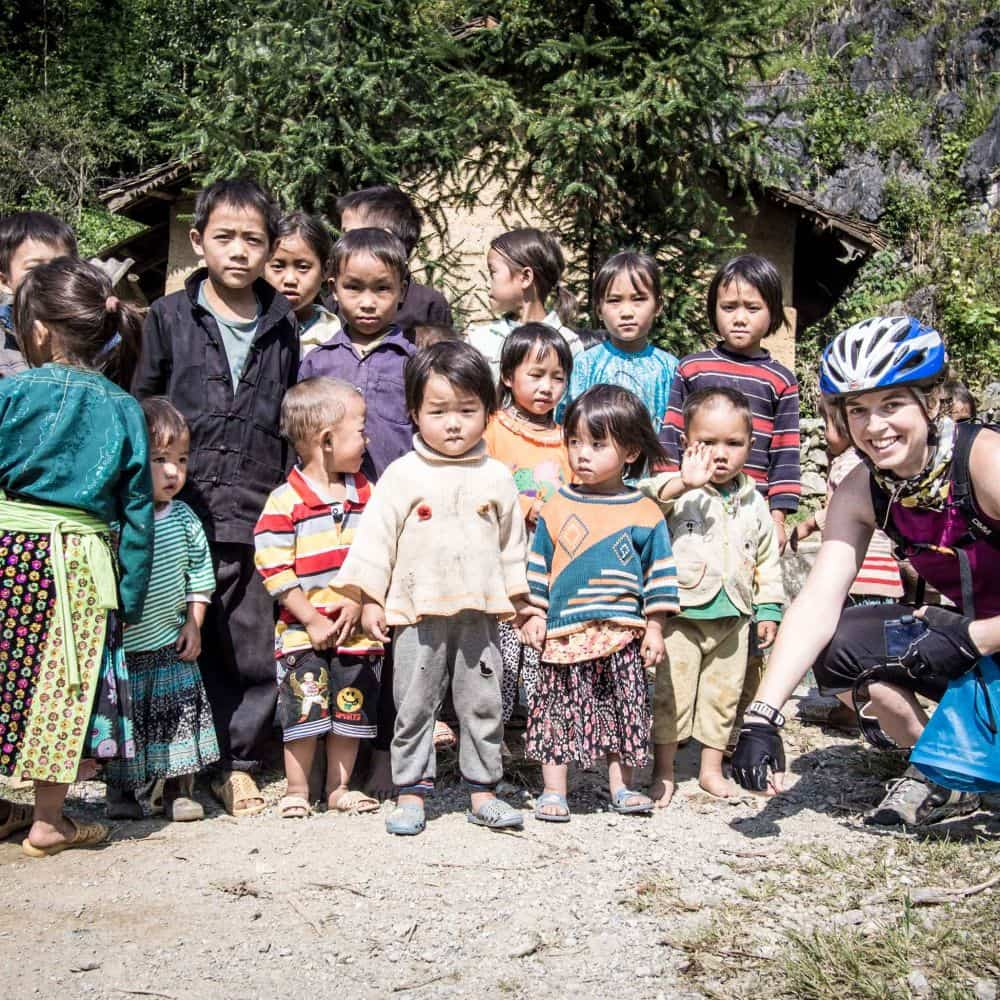 meeting locals while cycling Vietnam