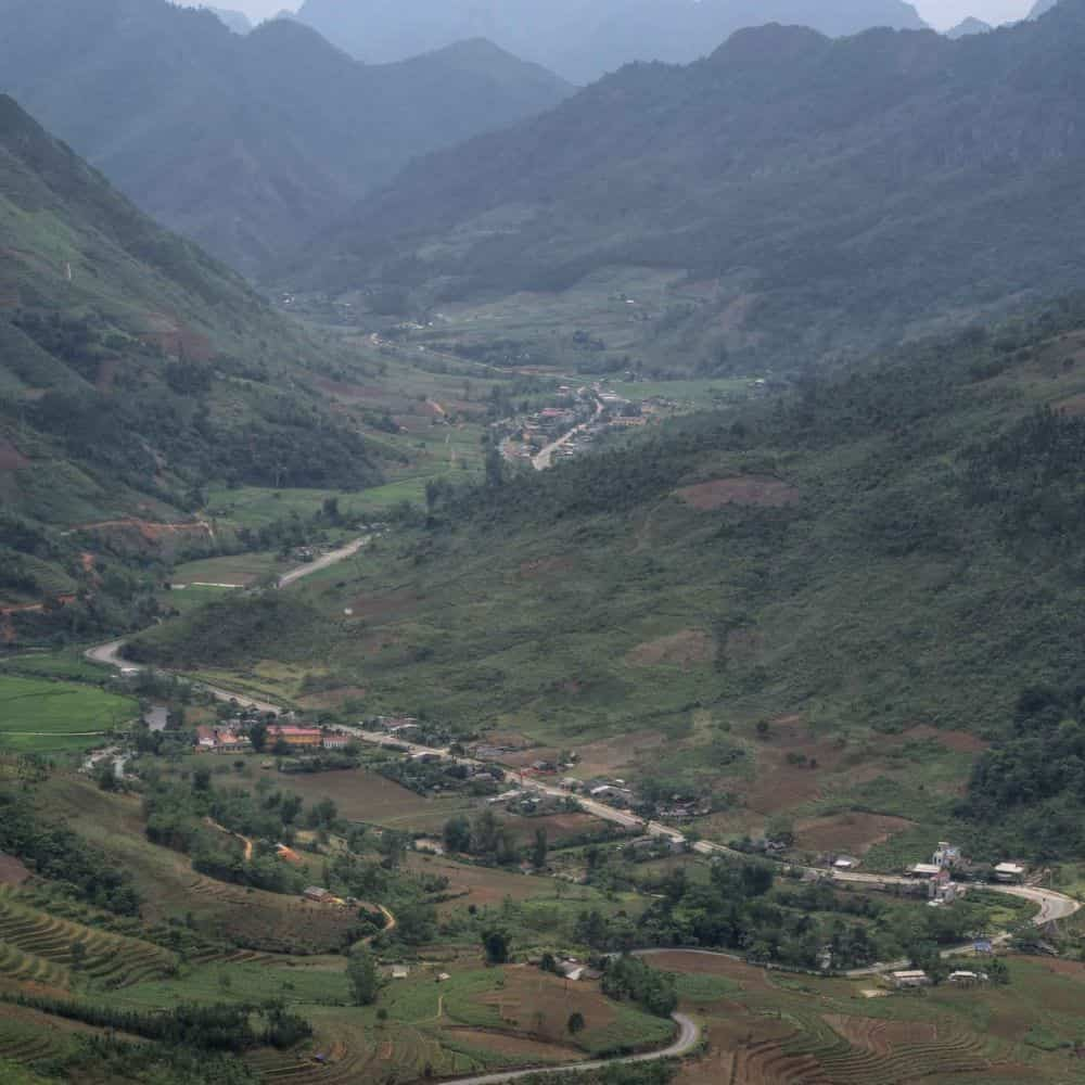 a quiet valley view on a cycle touring holiday in the mountains of Vietnam