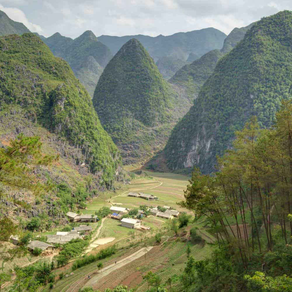 remote Vietnam landscape seen on a cycling tour
