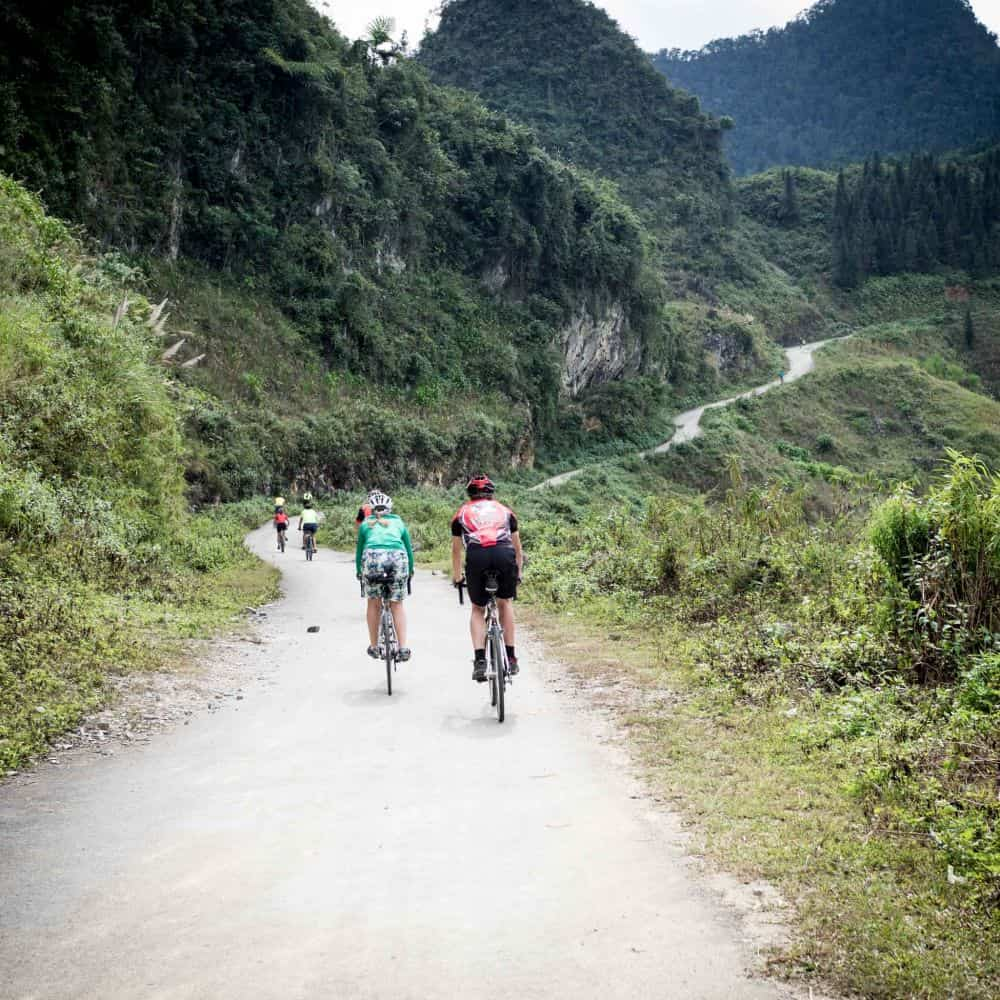 group of cyclists on holiday in Vietnam