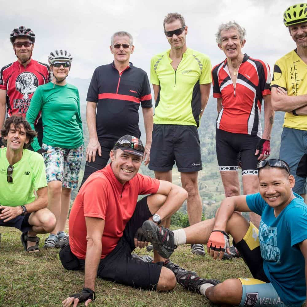 group of touring cyclists on holiday in Asia