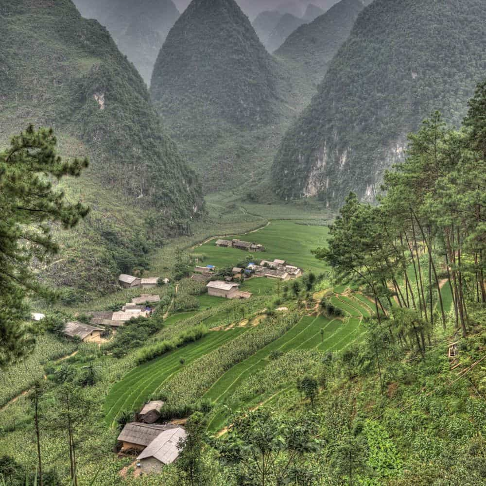remote mountain scenery in northeast Vietnam