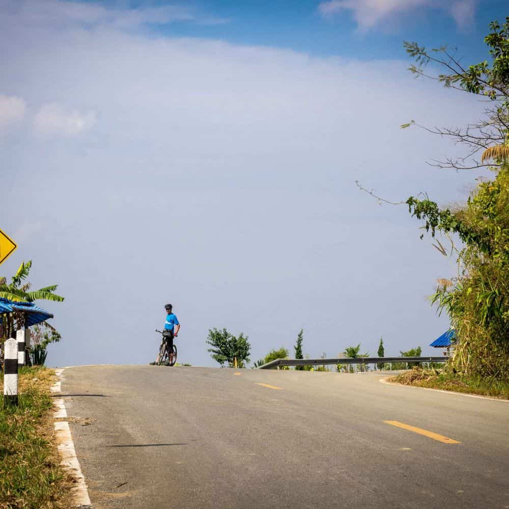 a cyclists in northern Thailand