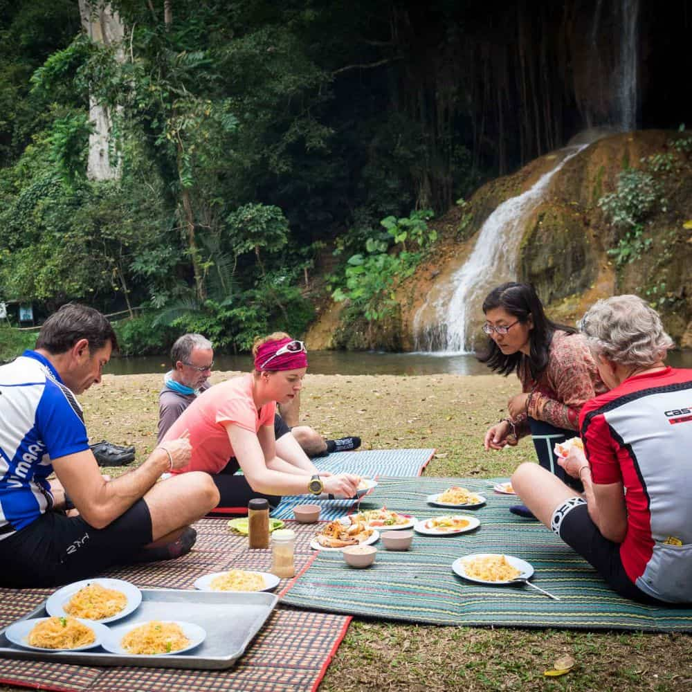 cyclists have a picnic in north thailand