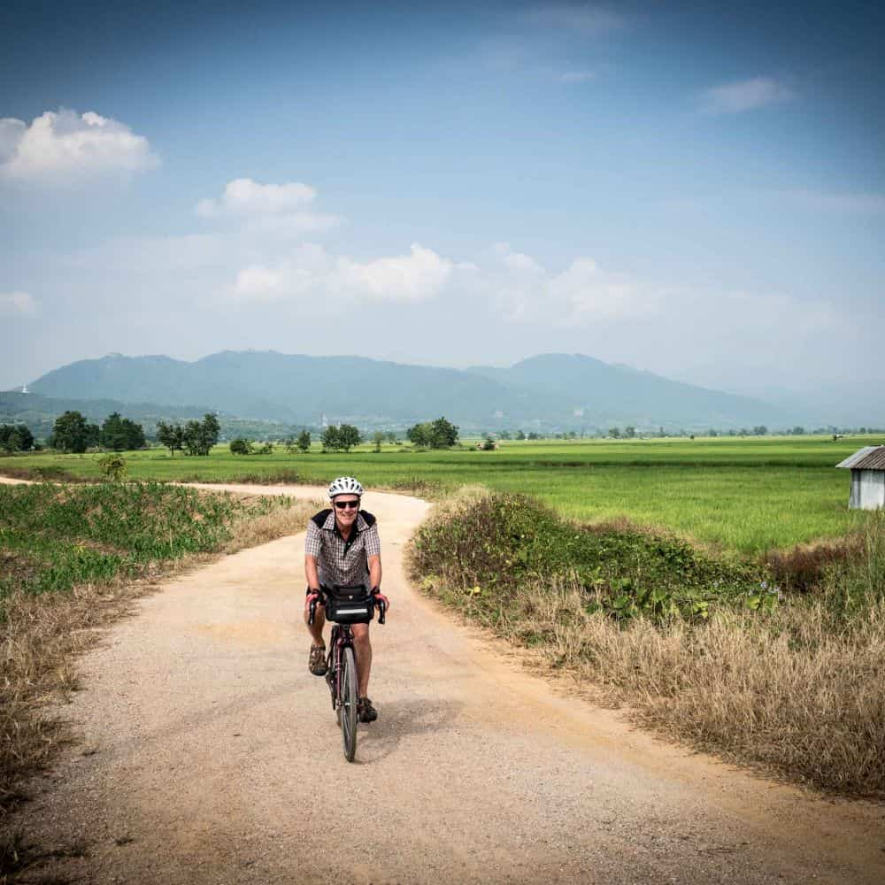 bicycle tour gravel road North Thailand