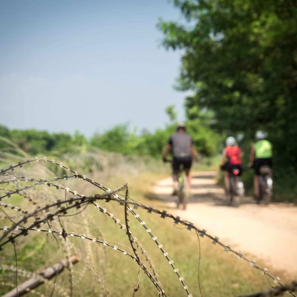 touring cyclists riding close to the Burma border in Thailand