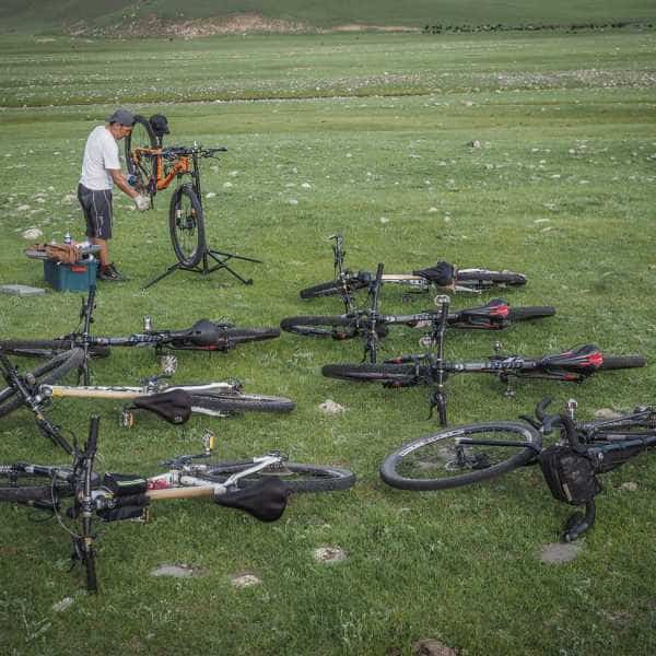 Mongolian bicycle mechanic on a Painted Roads cycling tour