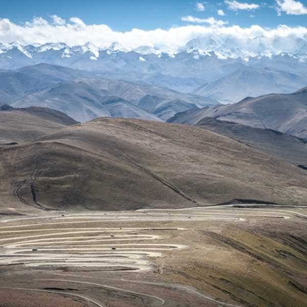 Switchbacks whilst cycling Lhasa to Kathmandu Tibet