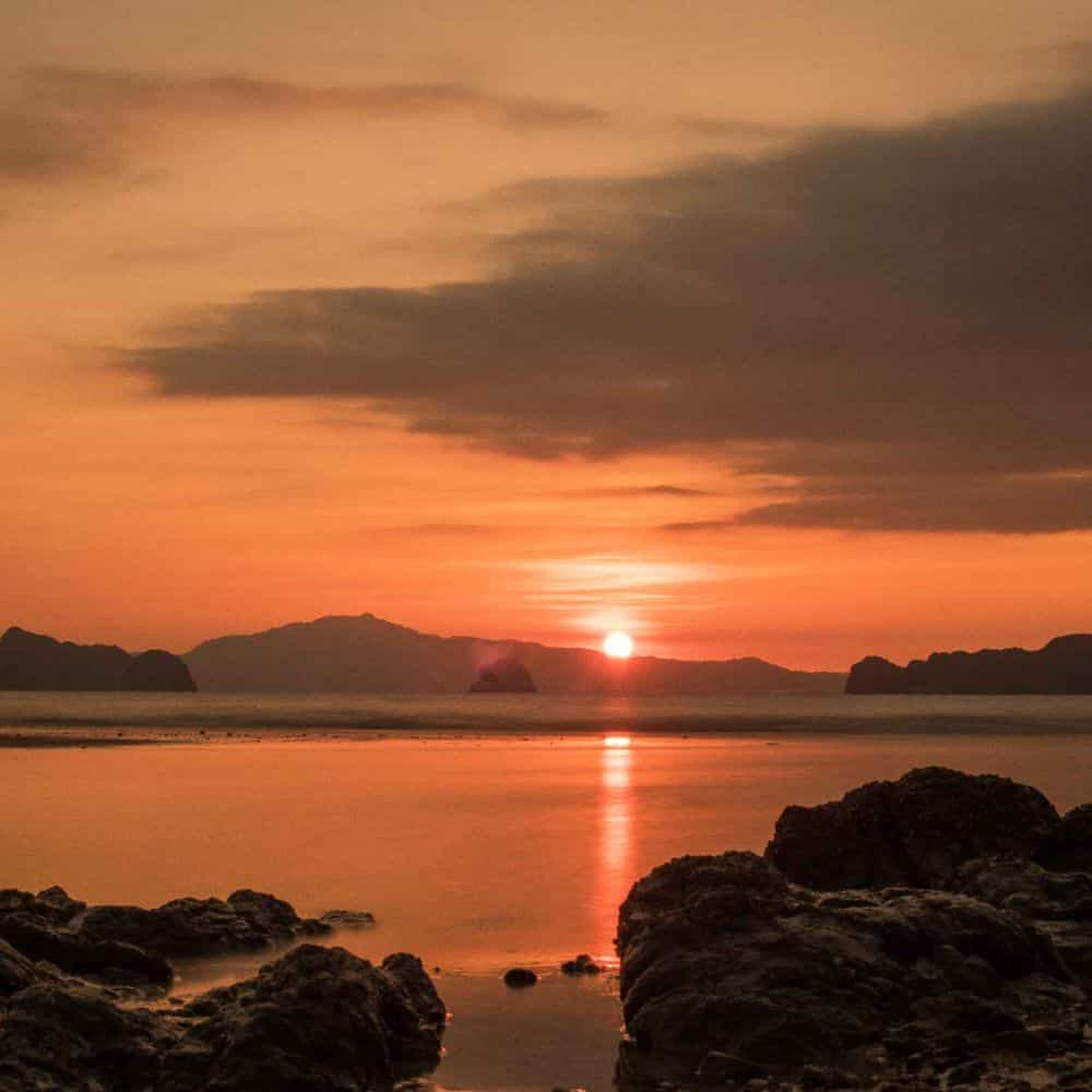 A red sunrise over Koh Yao Noi South Thailand