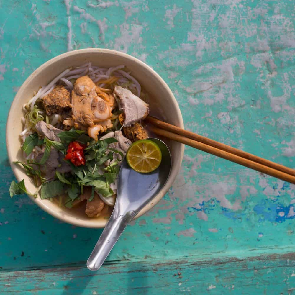 A bowl of Vietnamese noodle soup