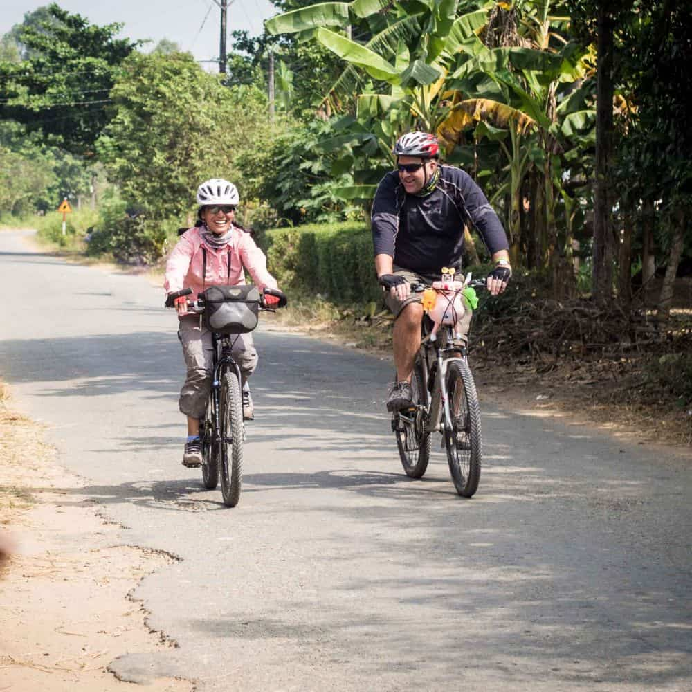 Cyclists on tour in Vietnam's Mekong Delta