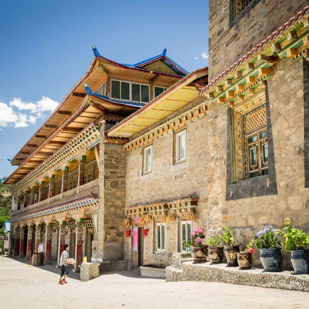 A traditional Tibetan hotel during a cycling tour in Sichuan China
