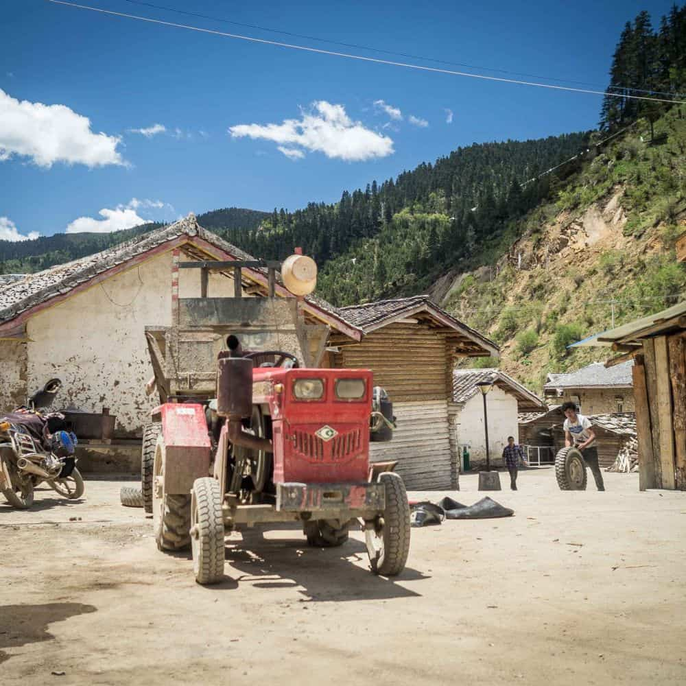 Small tractor in Tibetan village Sichuan China