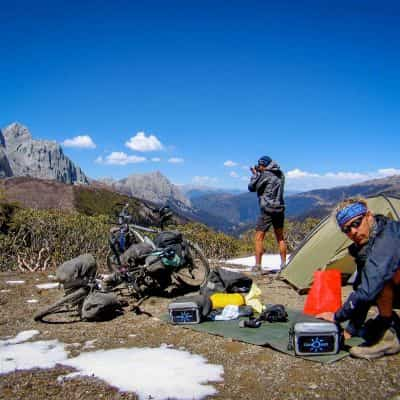 Cyclists camping in the mountains of Sichuan China