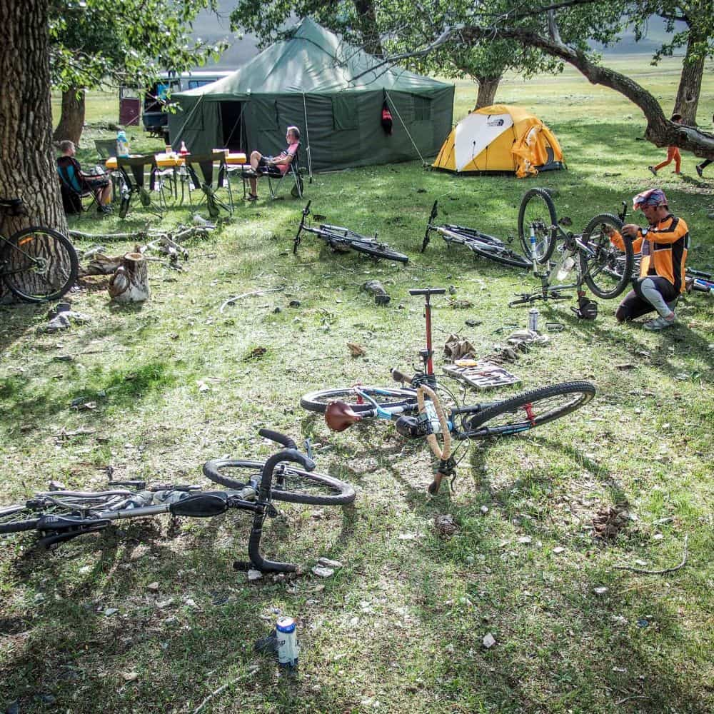 Cyclists at campsite in Mongolia