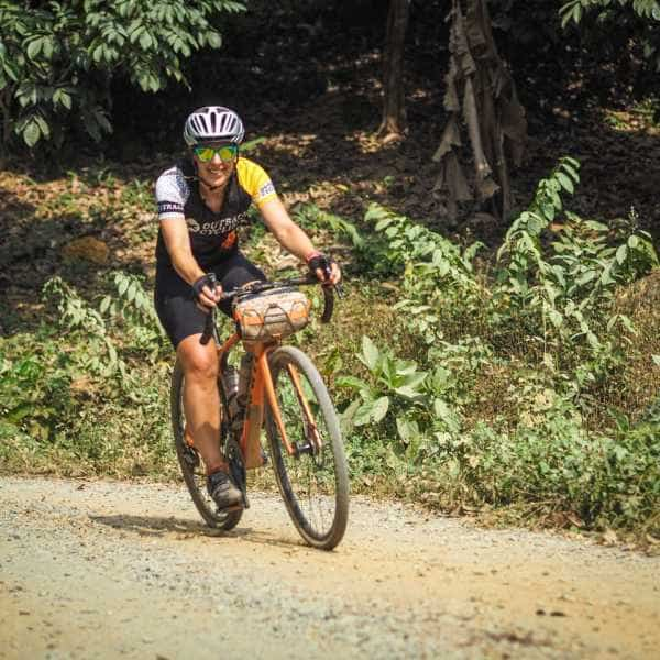 lady gravel cyclist in Thailand SE Asia