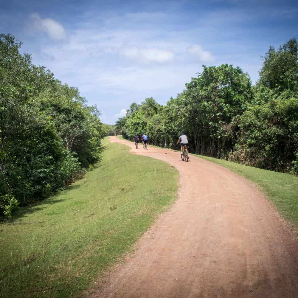 Bicycle tour group on gravel road in Sri Lanka