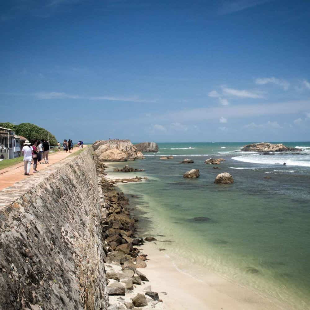 Galle fort wall and sea Sri Lanka