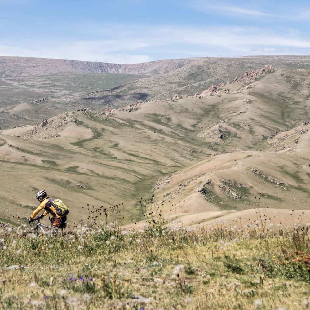 cycling through Mongolian steppe