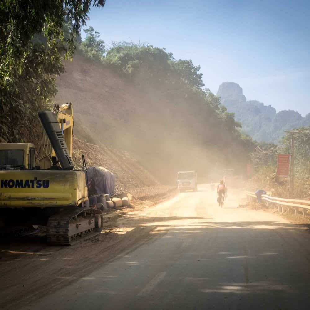 Cyclist and roadworks in Vietnam
