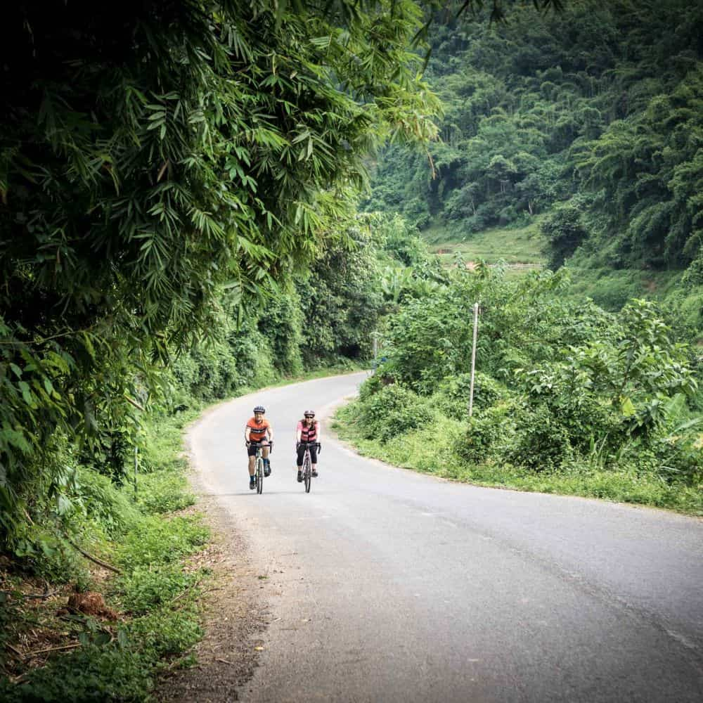 Cyclists on traffic free byways of Lao