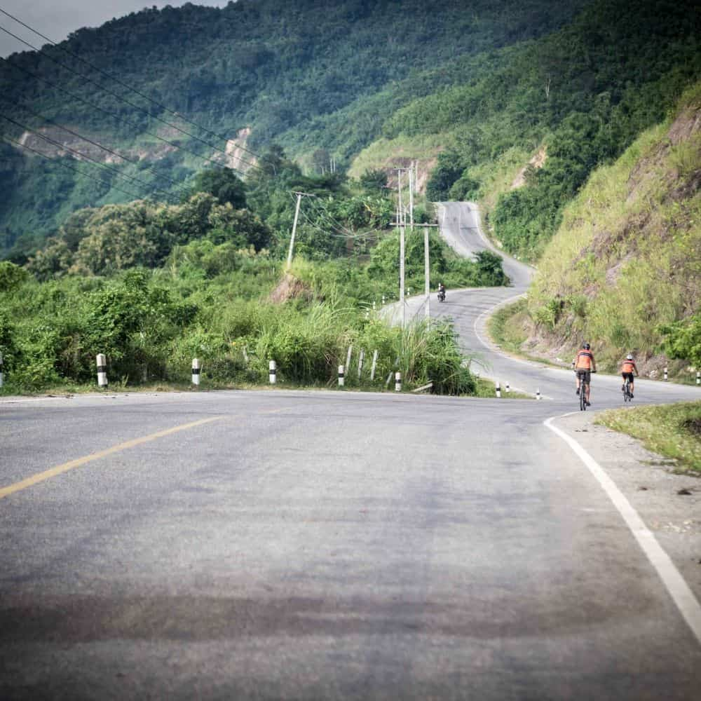 Cycling from Lao to Thailand on Tri nation tour