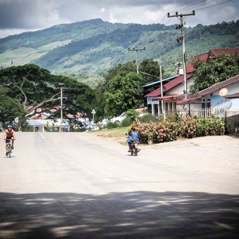 Cycling into the Lao border town