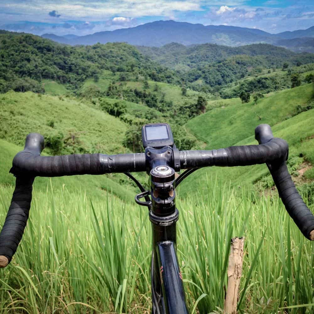 Gravel bike looking over the hills in north Thailand