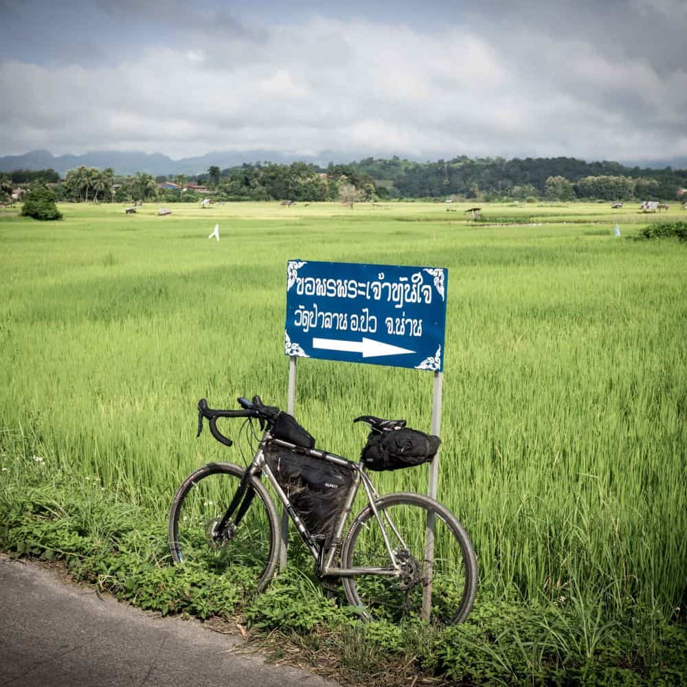 A bike packing bike in Thai rice field