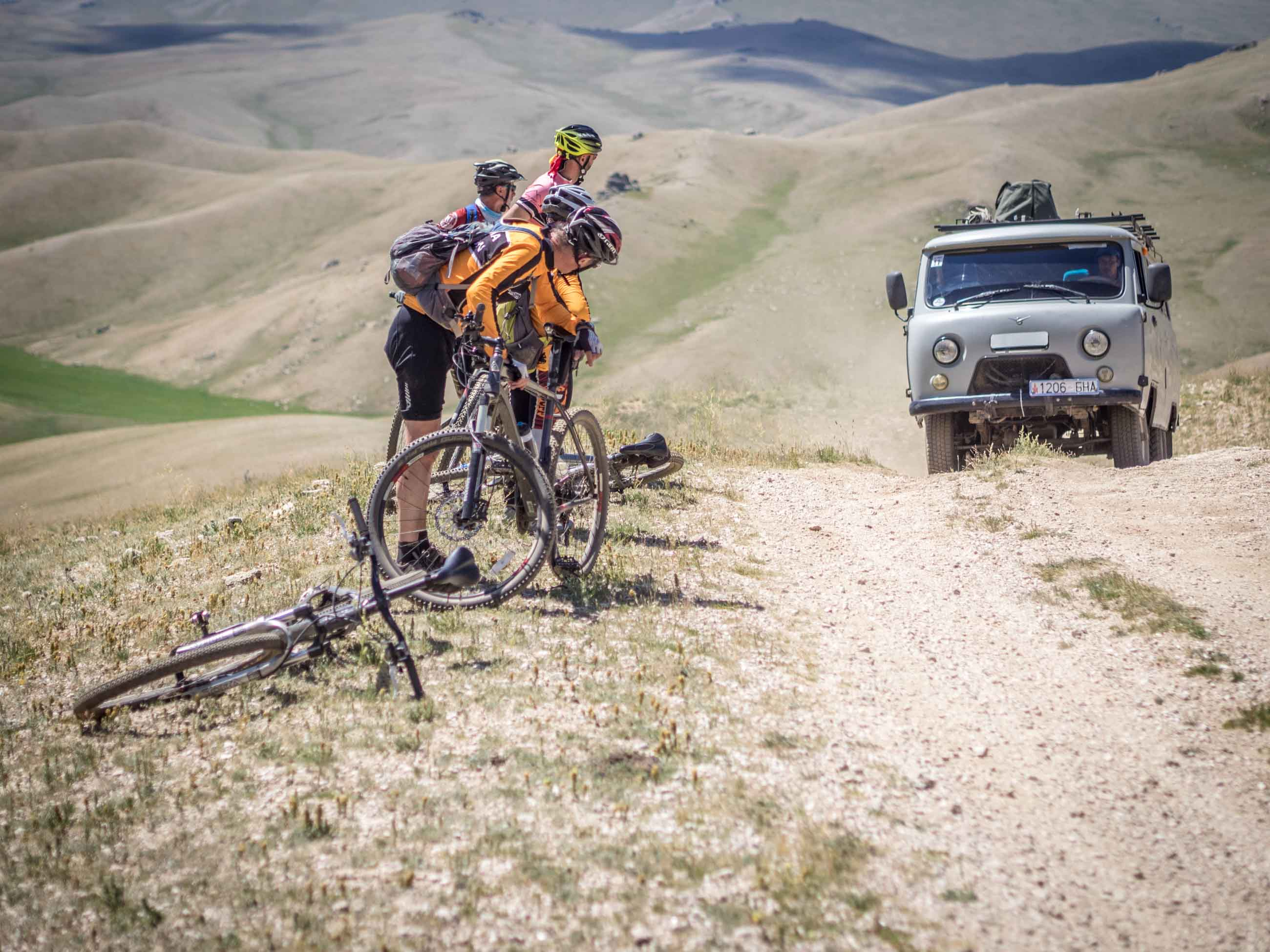 Russian truck as support vehicle on Mongolian cycling trip